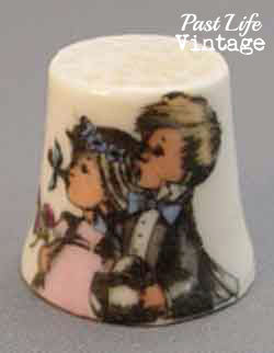 Hallmark Collectible China Sewing Thimble Children Design 1970's