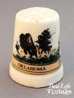 Bone China Sewing Thimble 1970's Oklahoma Souvenir