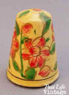 Vintage Hand Painted Wooden Thimble Set of 3 Different Floral Designs