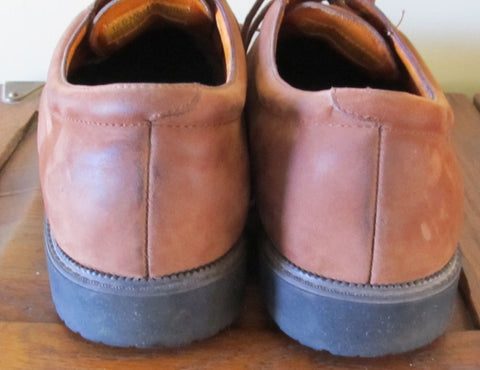Vintage Suede Men's Oxford Shoes Size 12D Warm Brown 1990s Free Shipping