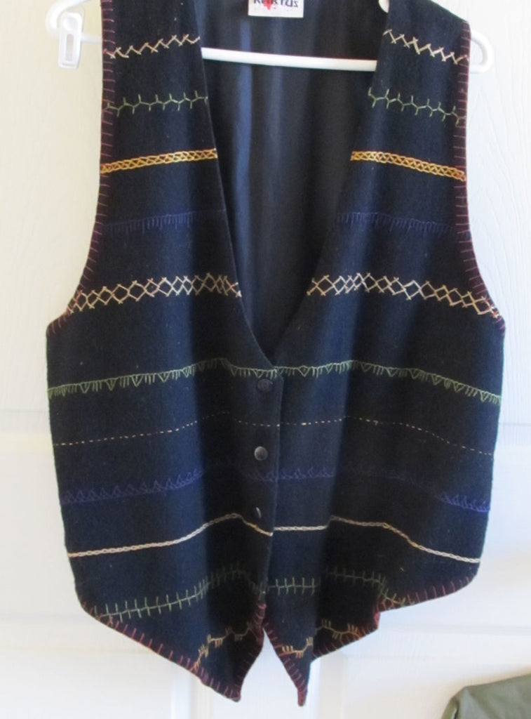 Boho Hipster Embroidered Black Wool Vest XL Kaktus Vintage 80s Unisex