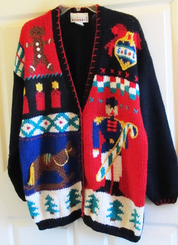 Vintage 80s Christmas Cardigan Sweater Sz 20 Women's Pony Soldier Candles Free Shipping