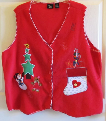 Vintage 90s Red Fleece Christmas Vest Snowman Stocking Sz 2X Like New Free Shipping