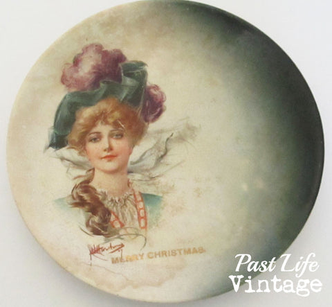 Porcelain Gibson Girl Victorian Lady Christmas Plate Vintage 1890s Harker