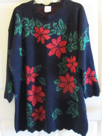 Poinsetta Christmas Sweater Vintage 80s Metallic Thread Sz 22W Free Shipping