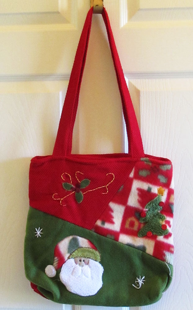 Vintage 90s Textile Folk Art Handbag Tote Christmas Santa Holly Free Shipping