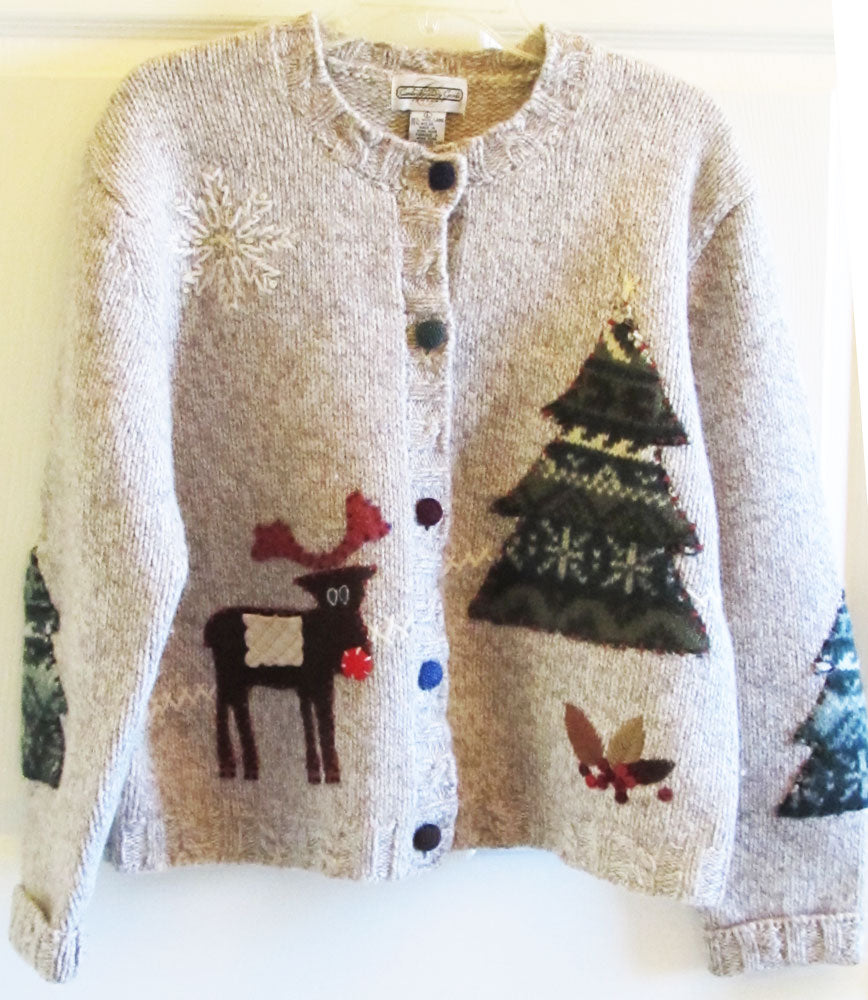Vintage 90s Christmas Cardigan Sweater Sz L Like New Cambridge Dry Goods Free Shipping