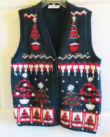 Fancy Embroidered Christmas Vest Vintage 90s Sz XL Like New Free Shipping