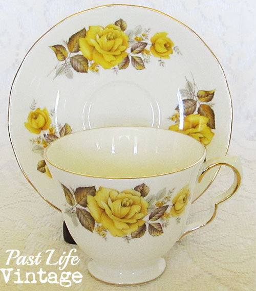 Vintage Queen Anne Tea Cup Saucer Set Yellow Roses 1950's Bone China England