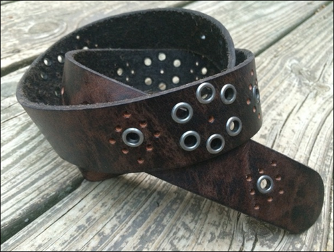 Black Studded Antiqued Leather