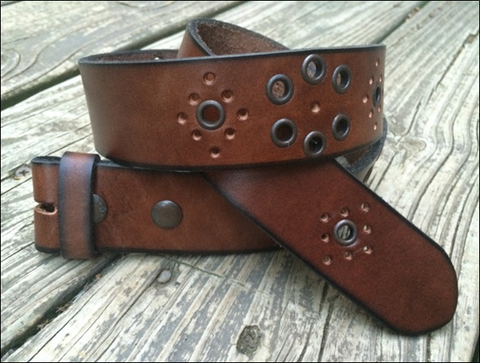 Brown Studded Antiqued Leather