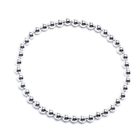 5mm Sterling Silver Beaded Stretch Bracelet