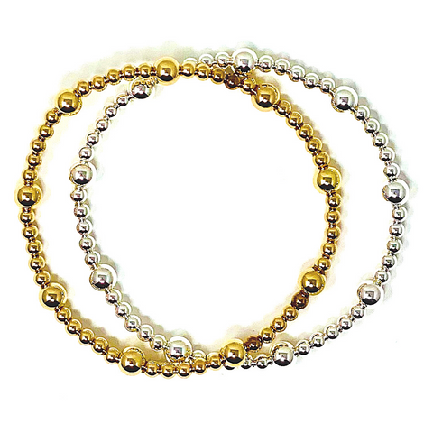 3mm and 5mm Gold Filled Beaded Bracelet
