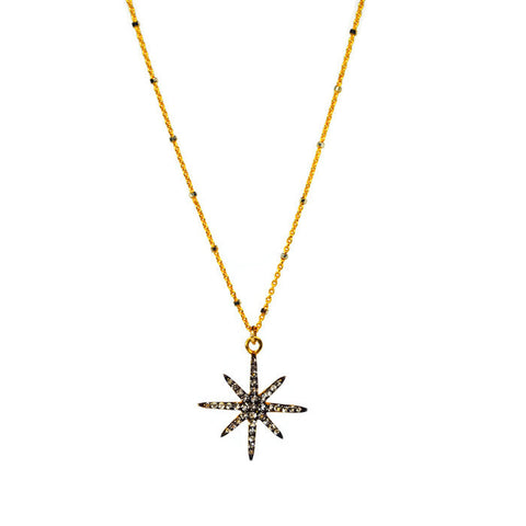 Gold Chain with Silver Beads / Starburst Charm