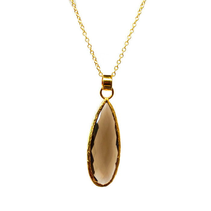 Large Smokey Quartz Long Gold Necklace