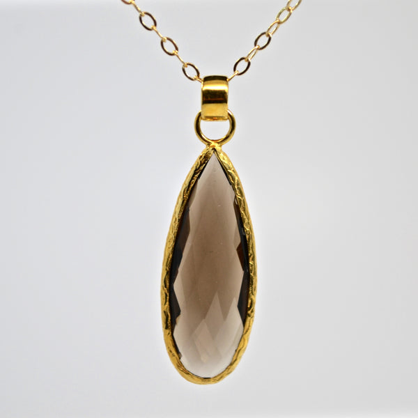 Smokey Quartz Gold Necklace