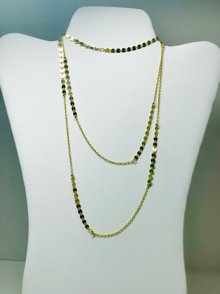 Gold Disk and Chain Layering Necklace 30""