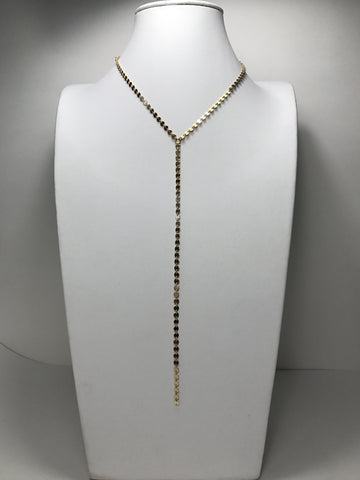 Gold Filled Disk Chain Lariat