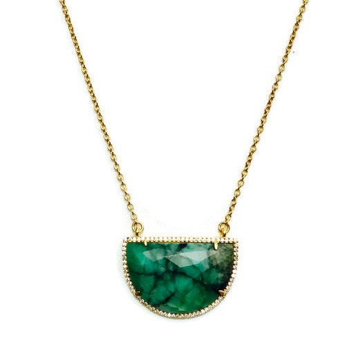 Long Green Half Round Semi Precious Stone Necklace