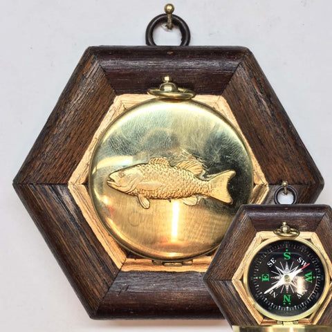 Wooden Frame with Trout on Compass (4