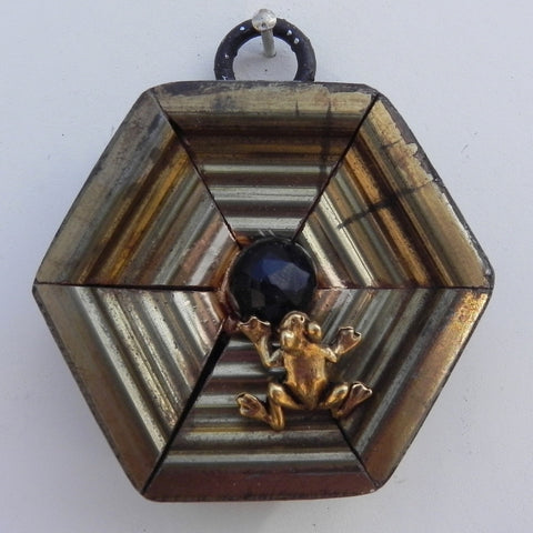 Faceted Black Stone with Frog on Gilt Frame