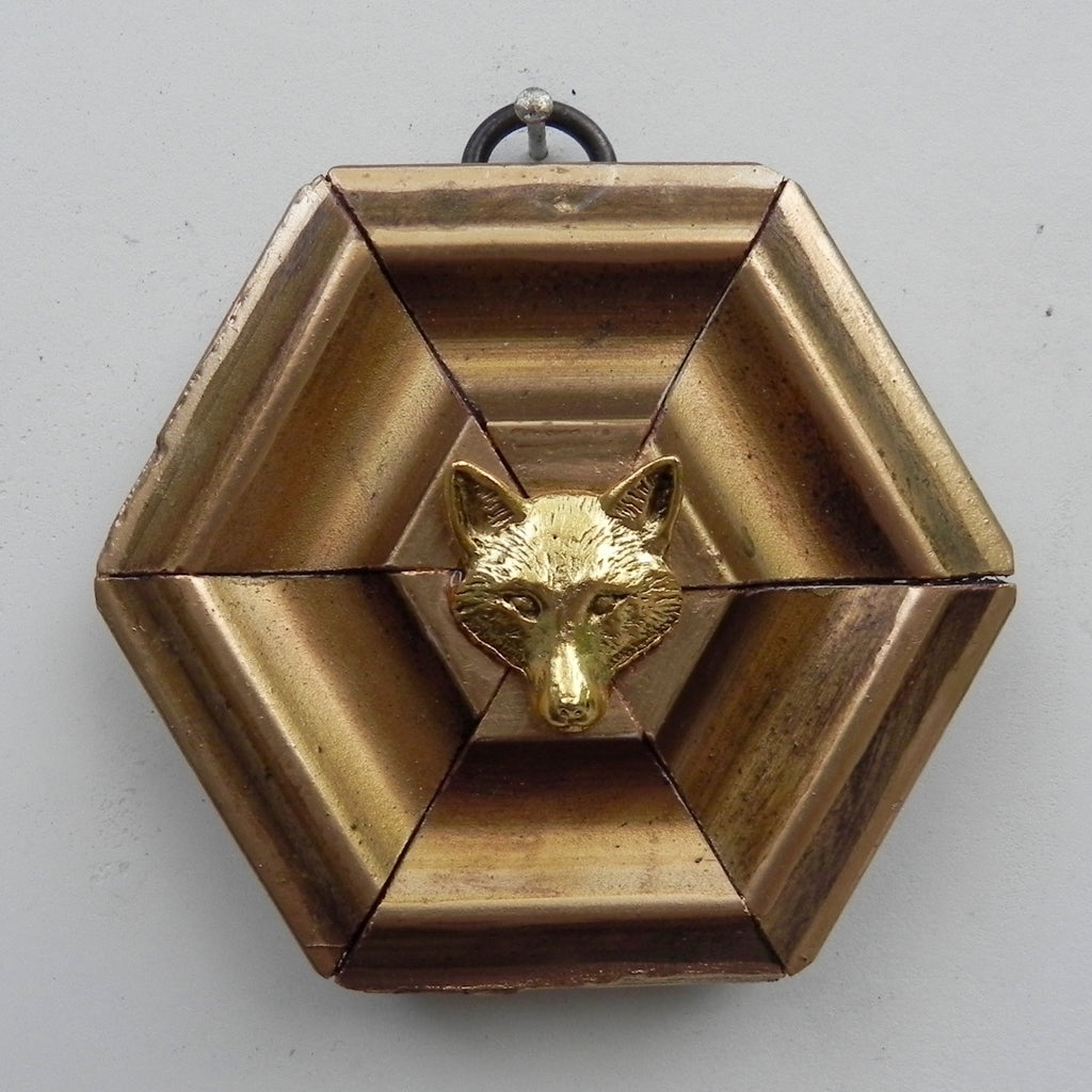 Hexagonal Gilt Frame  with Fox