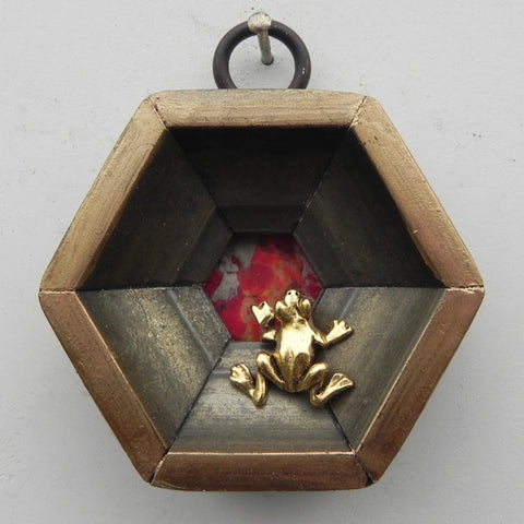Gilt Hexagonal Frame with Red Stone and Frog