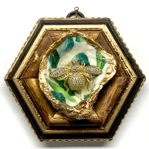Painted Frame with Sparkle Bee on Oyster Shell (3.75