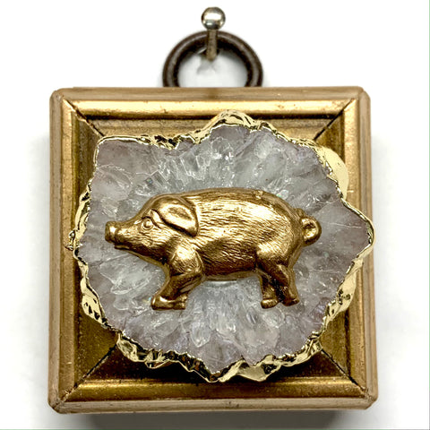 Gilt Frame with Pig on Quartz (1.75