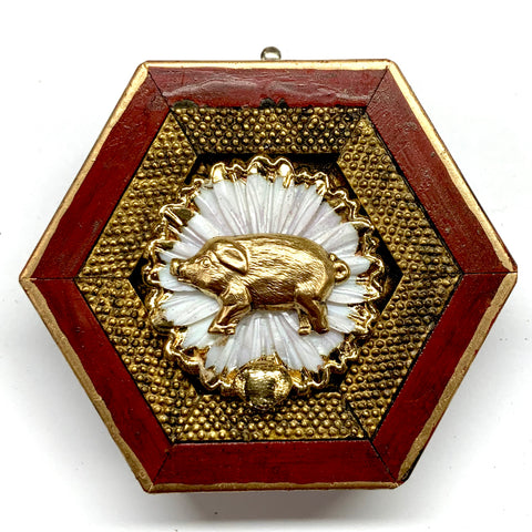 Lacquered Frame with Pig on Brooch (3