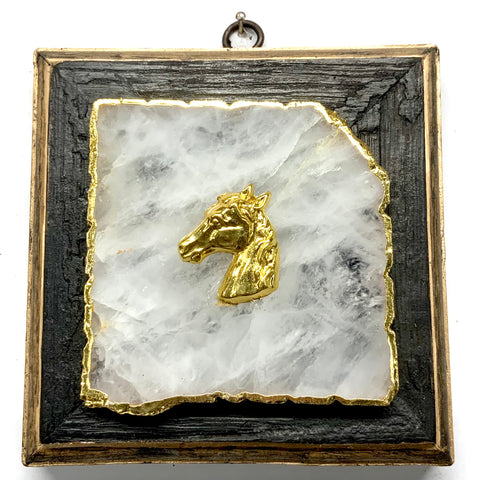 Bourbon Barrel Frame with Horse on Agate (5.25