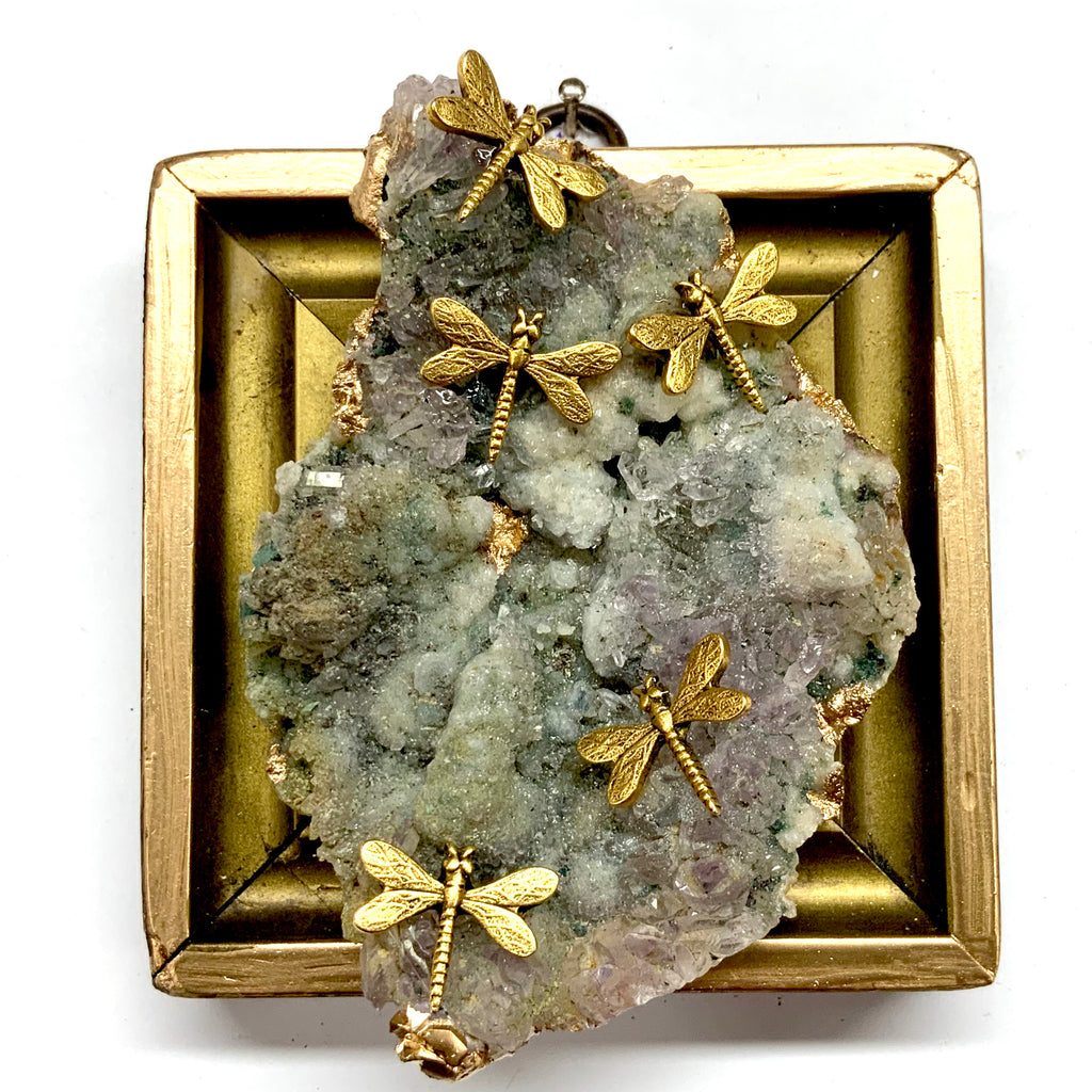 Gift Frame with Dragonflies on Semi-Precious Stone (3.75