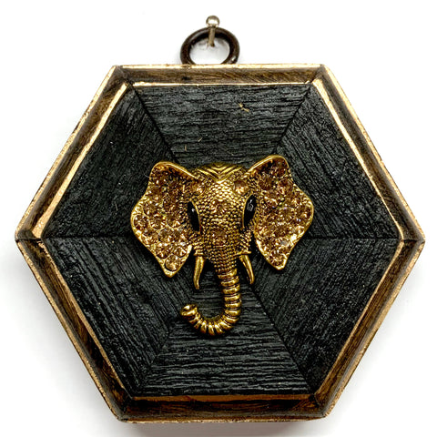Bourbon Barrel Frame with Sparkle Elephant Brooch (3.75