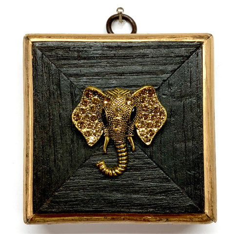 Bourbon Barrel Frame with Sparkle Elephant Brooch (3.25