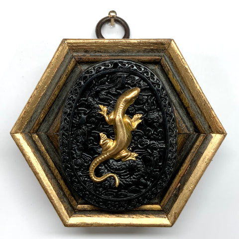 Gilt Frame with Lizard on Jade (3.25