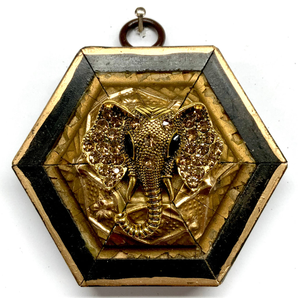 Lacquered Frame with Sparkle Elephant Brooch (3