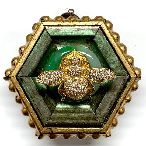 Painted Frame with Sparkle Bee on Stone (2.75