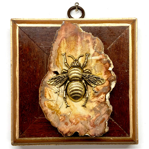 Wooden Frame with Grande Bee on Petrified Wood Piece  (4
