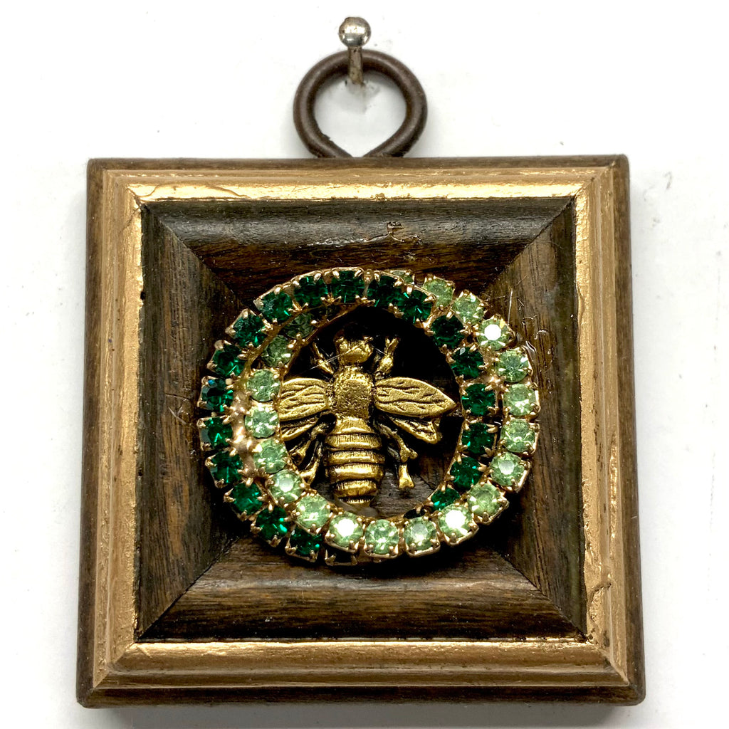 Wooden Frame with Napoleonic Bee on Brooch (2.25