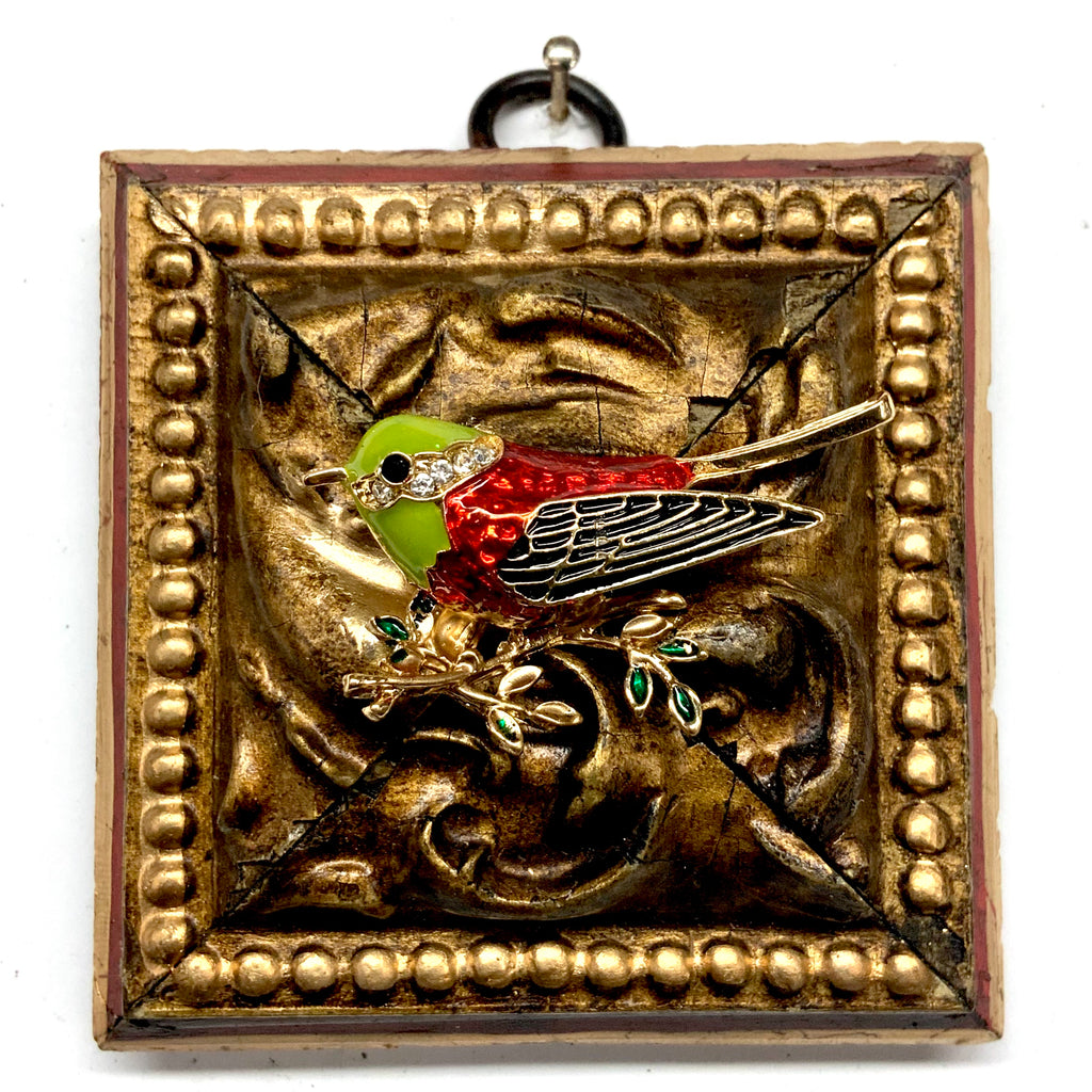 Lacquered Frame with Enameled Bird (3