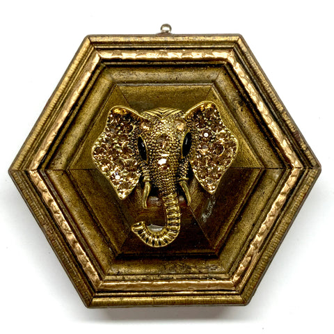 Gilt Frame with Sparkle Elephant Brooch (3.5