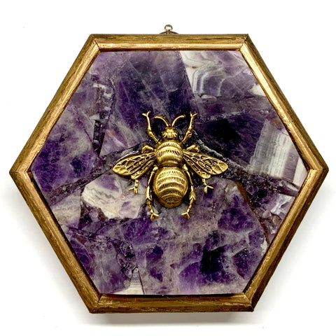 Gilt Frame with Grande Bee on Amethyst (4.75