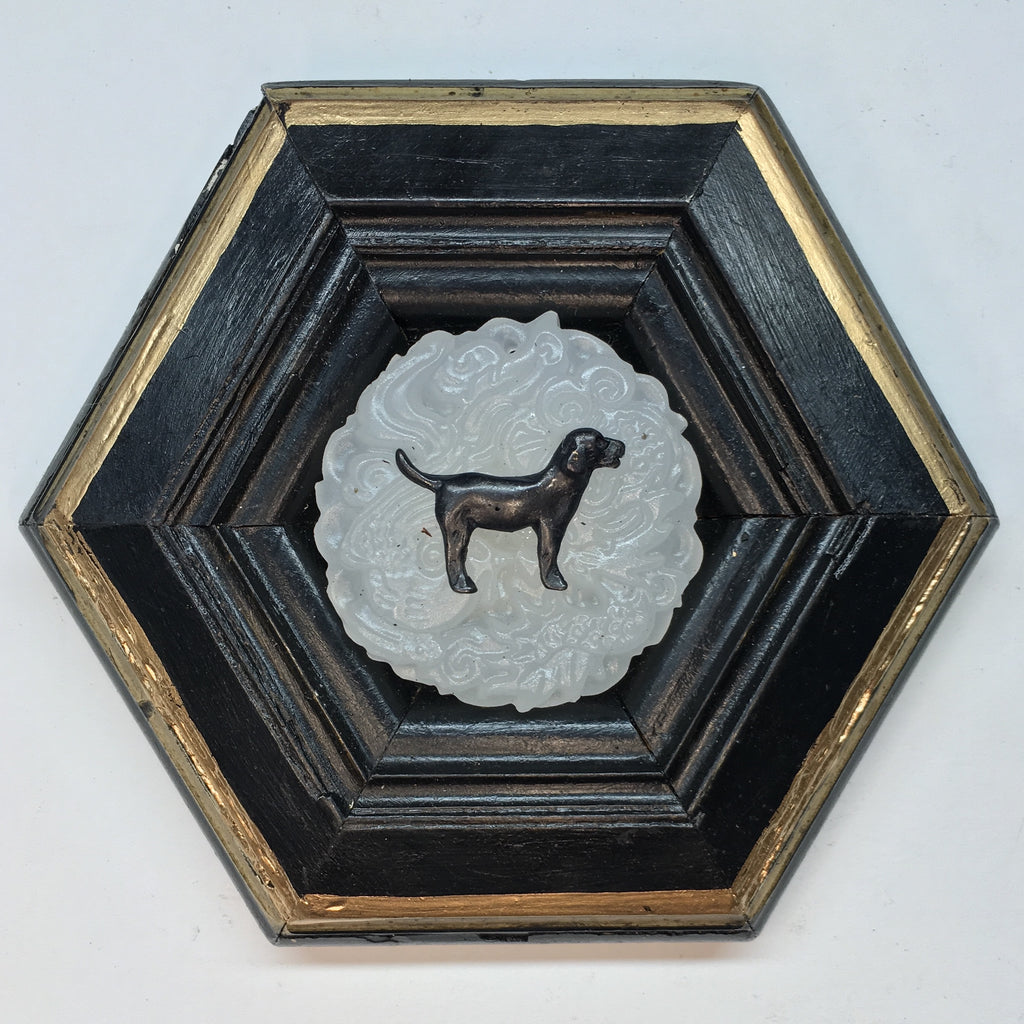 Lacquered Frame with Black Labrador on Jade (5