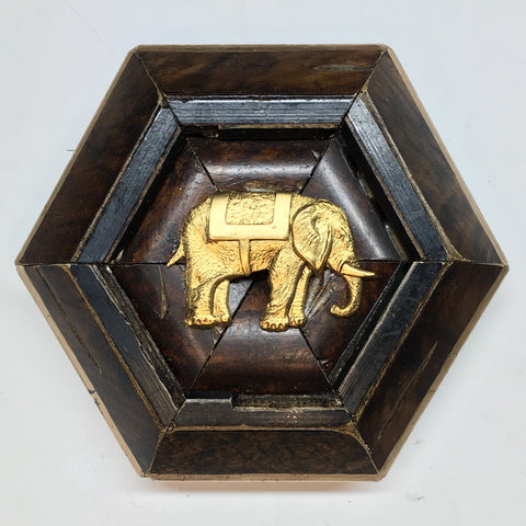 Burled Frame with Elephant (4