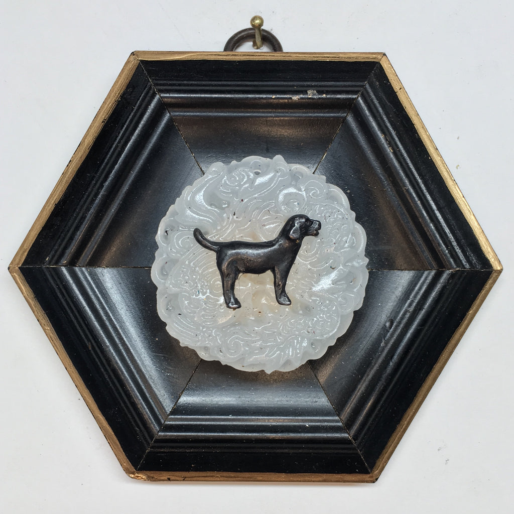 Lacquered Frame with Black Labrador on Jade Piece (4.5