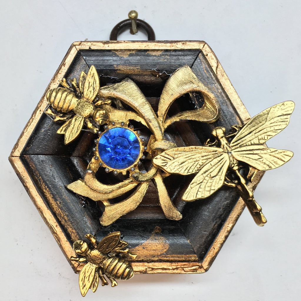 Gilt Frame with Napoleonic Bees and Dragonfly on Brooch (3
