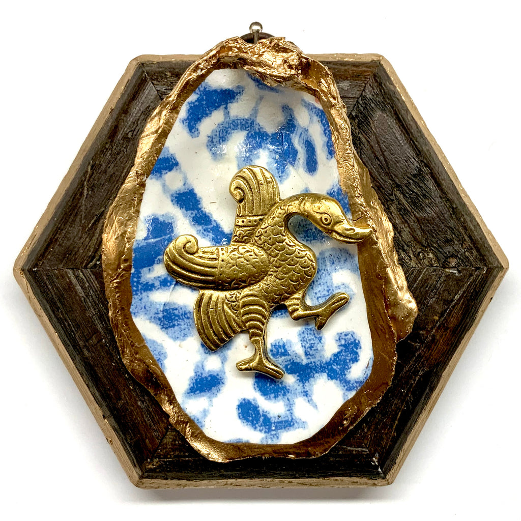 Wooden Frame with Goose on Oyster Shell (4.75
