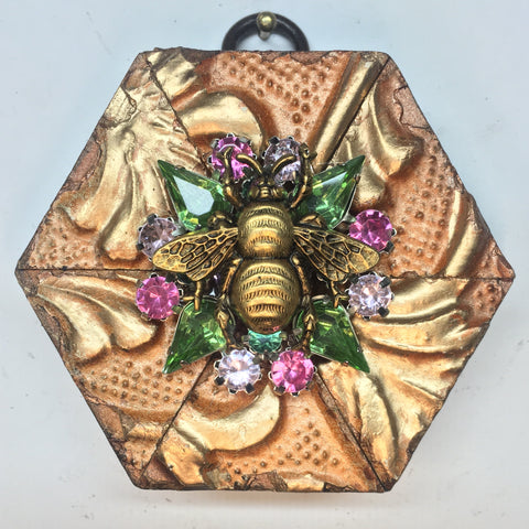 Painted Frame with Grande Bee on Brooch (3