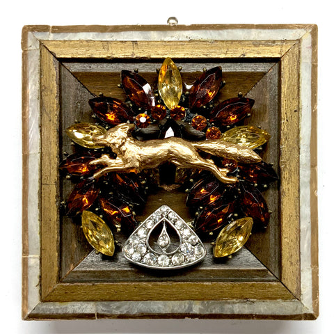 Mother of Pearl Frame with Fox on Brooch (3.5