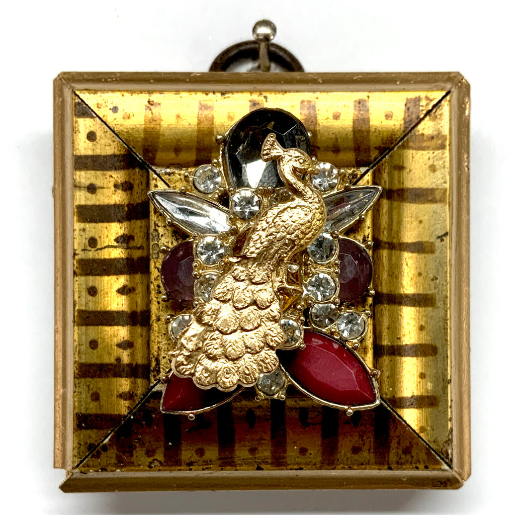 Gilt Frame with Peacock on Brooch (2.25